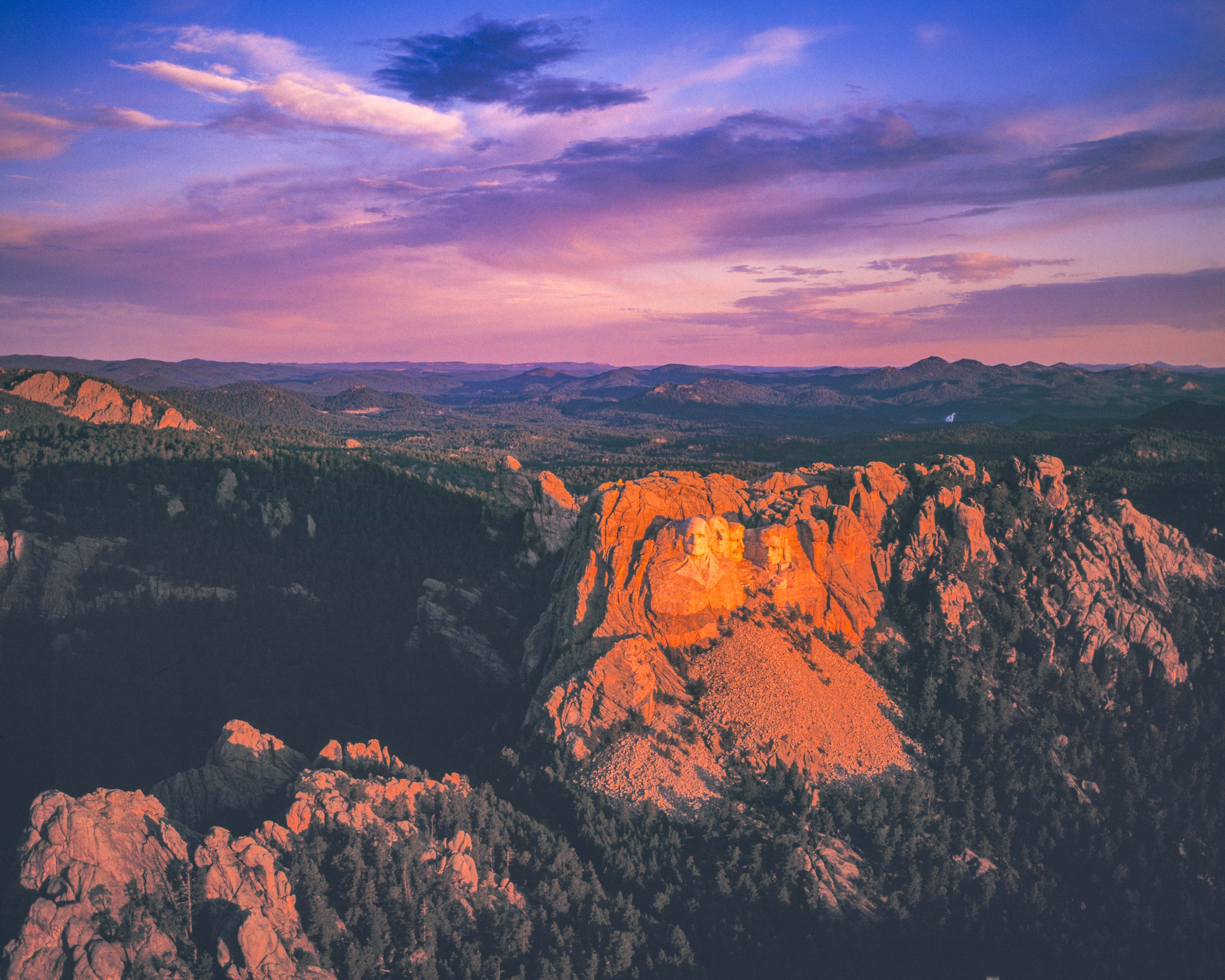 Aerial View of Mount Rushmore at Dawn Photographed by Tom Till