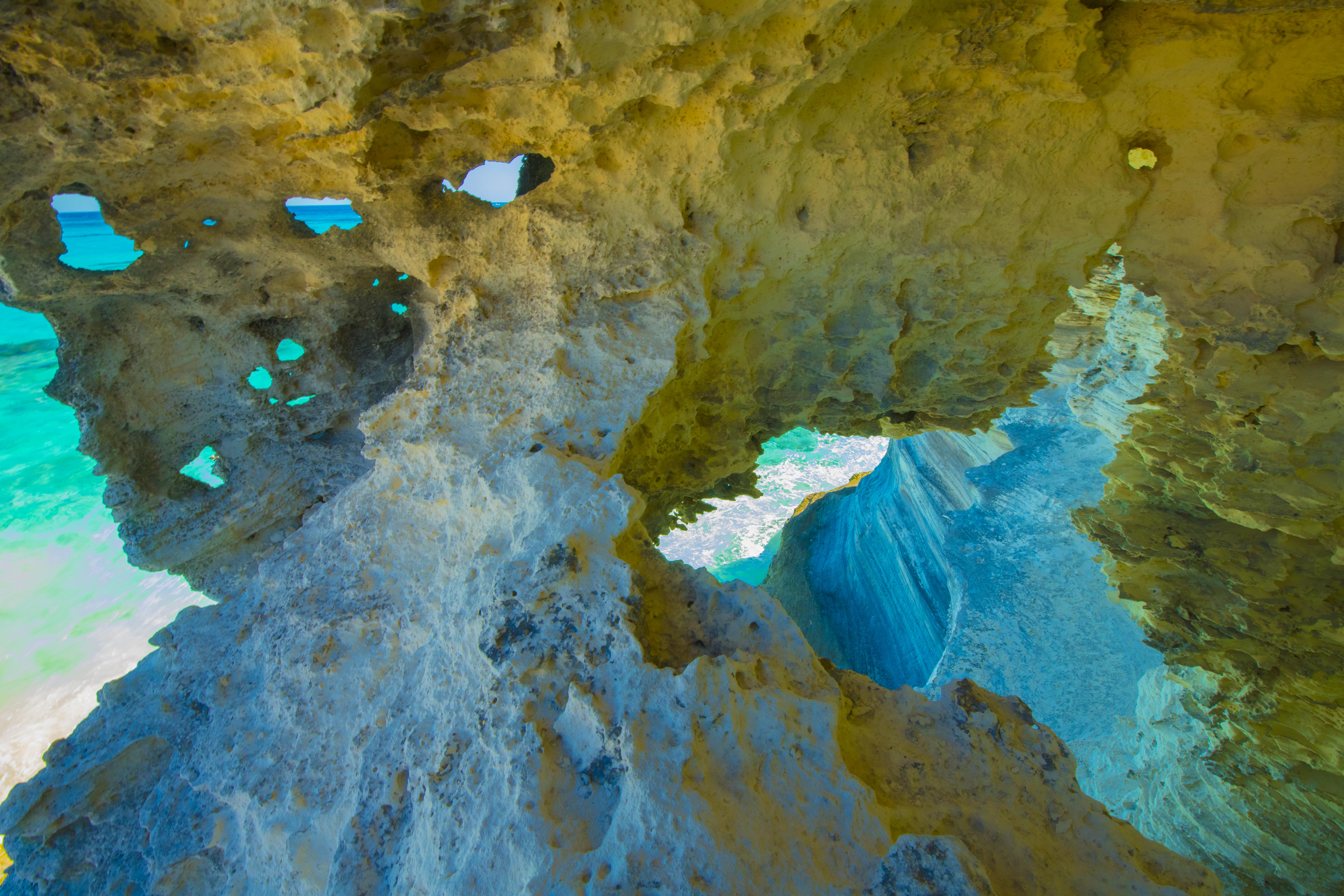 Sea cave erosion on Cat Island, The Bahamas photographed by Tom Till