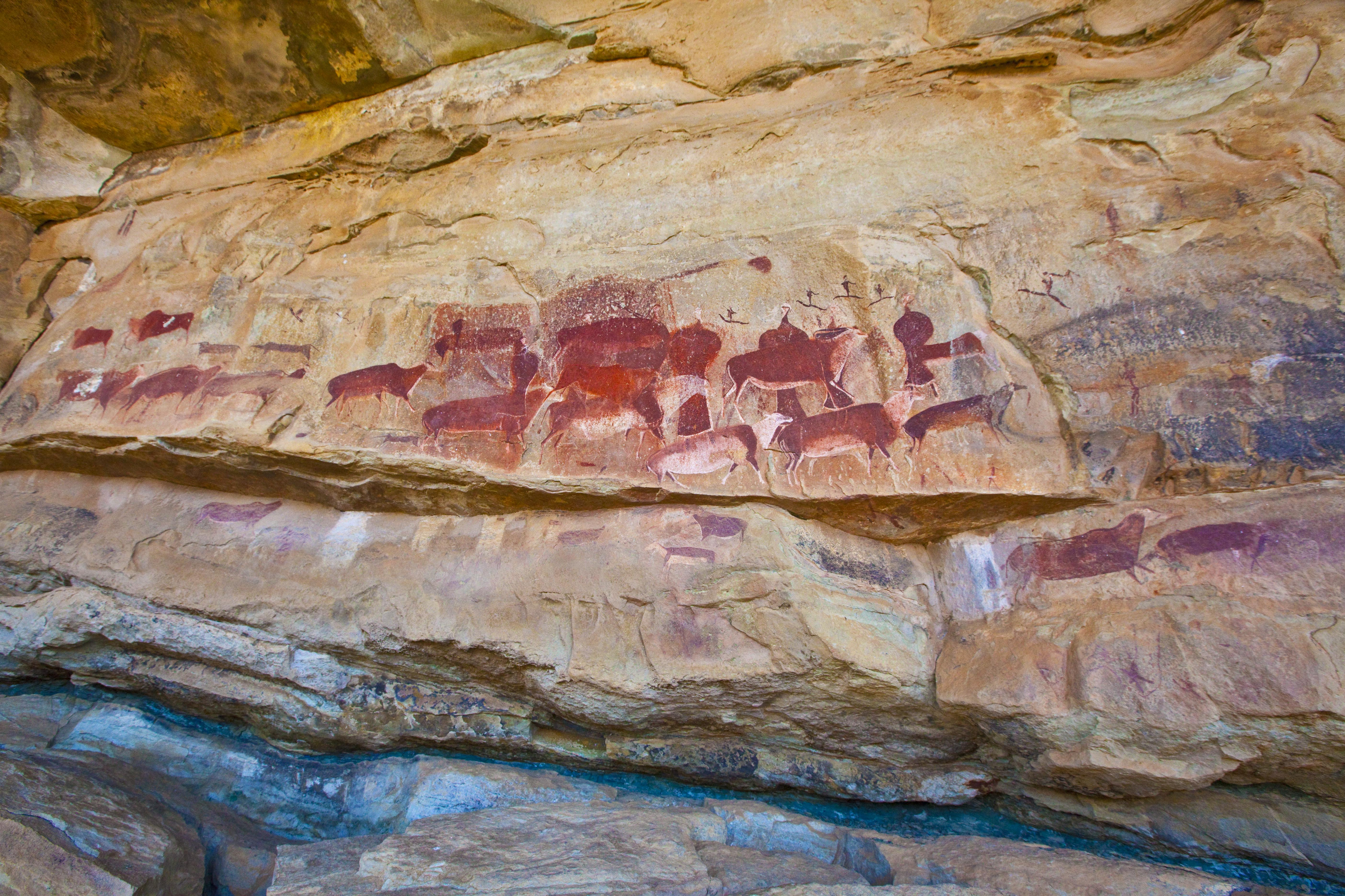 San Rock art at Kamberg Drakensberg Mountains, South Africa Photographed by Tom Till