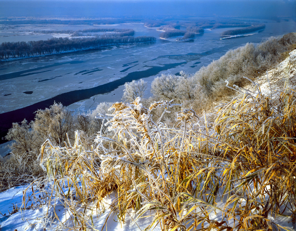 Iced grasses, Mississippi National Wildlife Refuge, Iowa, Pikes Peak State Park photographed by Tom Till
