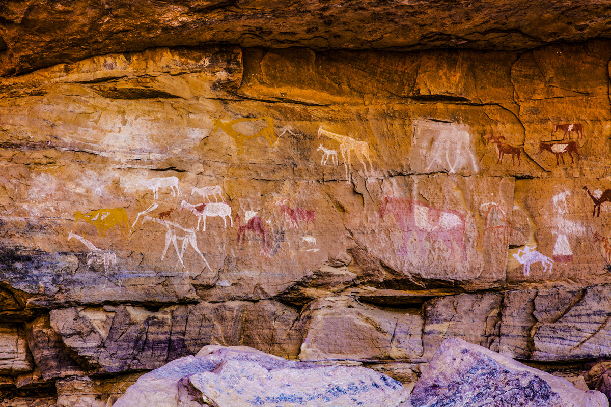 pictographs in the Jebel Acacus, LIbya, Sahara Desert  photographed by Tom Till