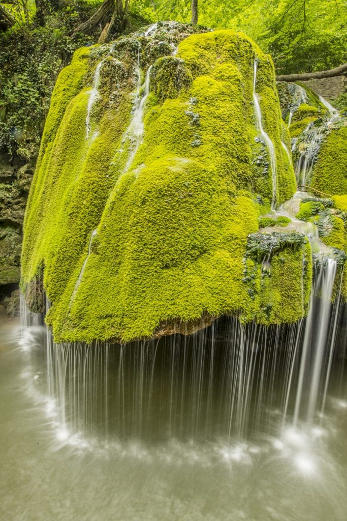 Bigar Waterfall, Unique mossy waterfall in Cheile Nerei-Beusnita National Park, Romania, Caros Severin Region
